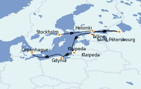 Itinerario de crucero Mar Báltico 9 días a bordo del Seven Seas Splendor