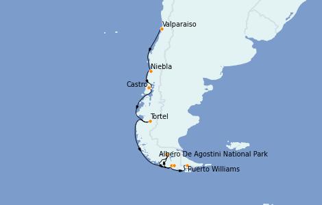 Itinerario del crucero Norteamérica 12 días a bordo del Silver Explorer