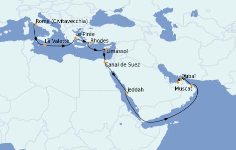 Itinerario del crucero Trasatlántico y Grande Viaje 2021 19 días a bordo del MSC Virtuosa