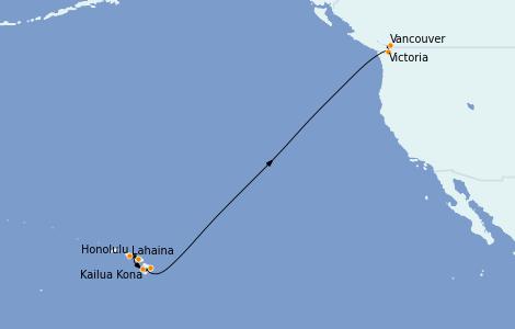 Itinerario del crucero Hawaii 12 días a bordo del Celebrity Eclipse