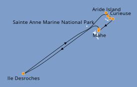 Itinerario de crucero Océano Índico 9 días a bordo del Le Bougainville