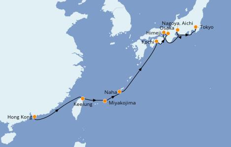 Itinerario del crucero Asia 12 días a bordo del Norwegian Sun
