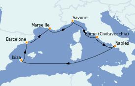 Itinerario de crucero Mediterráneo 8 días a bordo del Costa Toscana