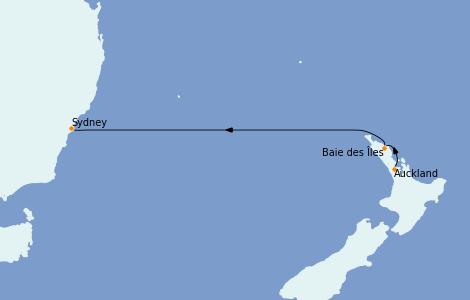 Itinerario del crucero Australia 2022 4 días a bordo del Coral Princess