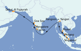 Itinerario de crucero Asia 19 días a bordo del MS Nautica