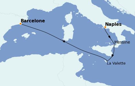 Itinerario del crucero Mediterráneo 4 días a bordo del MSC Seashore