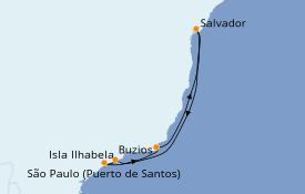 Itinerario de crucero Suramérica 7 días a bordo del Costa Favolosa