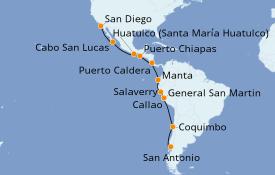 Itinerario de crucero Riviera Mexicana 20 días a bordo del ms Westerdam