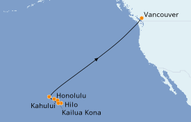 Itinerario de crucero Hawaii 11 días a bordo del