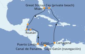 Itinerario de crucero Caribe del Oeste 13 días a bordo del Norwegian Joy