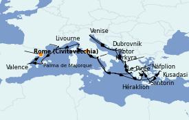 Itinerario de crucero Mediterráneo 27 días a bordo del ms Oosterdam