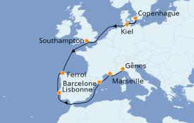 Itinerario de crucero Mediterráneo 12 días a bordo del MSC Virtuosa