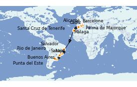 Itinerario de crucero Trasatlántico y Grande Viaje 2021 21 días a bordo del MSC Sinfonia