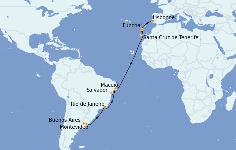 Itinerario del crucero Trasatlántico y Grande Viaje 2022 17 días a bordo del MSC Orchestra