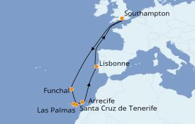 Itinerario de crucero Islas Canarias 13 días a bordo del Queen Victoria