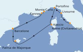 Itinerario de crucero Mediterráneo 8 días a bordo del Seven Seas Mariner