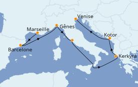 Itinéraire de la croisière Méditerranée 8 jours à bord du MSC Magnifica