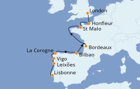 Itinéraire de la croisière Méditerranée 13 jours à bord du Silver Cloud Expedition