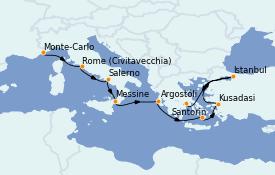 Itinéraire de la croisière Grèce & Adriatique 11 jours à bord du Seven Seas Voyager