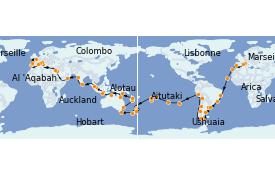 Itinéraire de la croisière Australie 2022 124 jours à bord du MSC Poesia