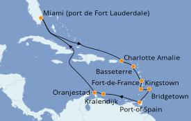 Itinéraire de la croisière Caraïbes de l'Est 15 jours à bord du Crown Princess