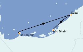 Itinéraire de la croisière Dubaï - Emirats 8 jours à bord du MSC Opera