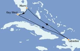 Itinéraire de la croisière  6 jours à bord du Radiance of the Seas