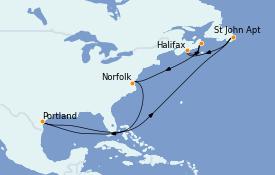 Itinéraire de la croisière Canada 9 jours à bord du Carnival Magic