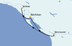 Itinéraire de la croisière Alaska 6 jours à bord du Grand Princess