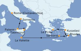Itinéraire de la croisière Méditerranée 11 jours à bord du Silver Dawn