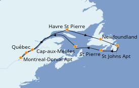 Itinéraire de la croisière Canada 13 jours à bord du Seabourn Quest