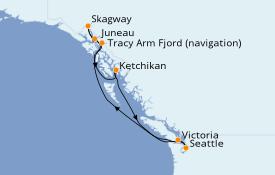 Itinéraire de la croisière Alaska 8 jours à bord du Carnival Freedom