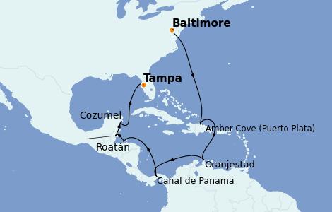 Itinéraire de la croisière Caraïbes de l'Ouest 14 jours à bord du Carnival Pride