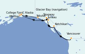 Itinéraire de la croisière Alaska 15 jours à bord du Majestic Princess