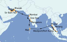 Itinéraire de la croisière Dubaï - Emirats 22 jours à bord du Seven Seas Explorer