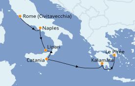 Itinéraire de la croisière Méditerranée 8 jours à bord du Le Lyrial