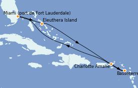 Itinéraire de la croisière Caraïbes de l'Est 8 jours à bord du Regal Princess