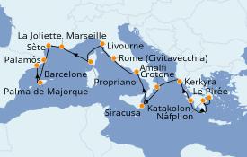 Itinéraire de la croisière Méditerranée 15 jours à bord du Seabourn Odyssey