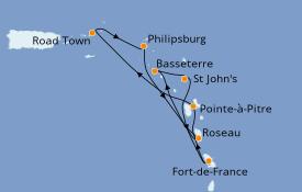 Itinéraire de la croisière Caraïbes de l'Est 8 jours à bord du MSC Splendida