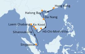 Itinéraire de la croisière Asie 15 jours à bord du Seabourn Ovation