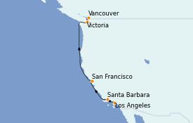 Itinéraire de la croisière Californie 7 jours à bord du Radiance of the Seas