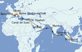 Itinéraire de la croisière Tour du Monde 2022 26 jours à bord du MSC Poesia
