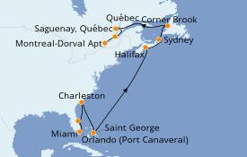 Itinéraire de la croisière Canada 15 jours à bord du Seven Seas Navigator
