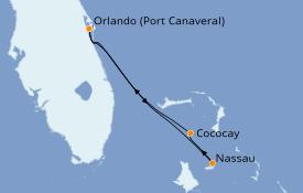 Itinéraire de la croisière Bahamas 5 jours à bord du Mariner of the Seas