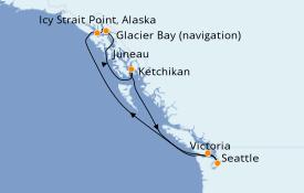 Itinéraire de la croisière Transatlantiques et Grands Voyages 2022 8 jours à bord du Norwegian Sun