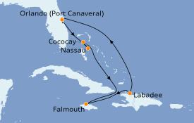 Itinéraire de la croisière Bahamas 8 jours à bord du Allure of the Seas