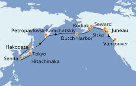 Itinéraire de la croisière Alaska 19 jours à bord du Seven Seas Explorer