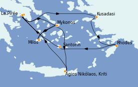 Itinéraire de la croisière Grèce & Adriatique 8 jours à bord du Celestyal Crystal