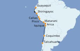 Itinéraire de la croisière Amérique du Sud 14 jours à bord du Le Soléal