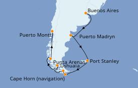 Itinéraire de la croisière Amérique du Sud 15 jours à bord du
